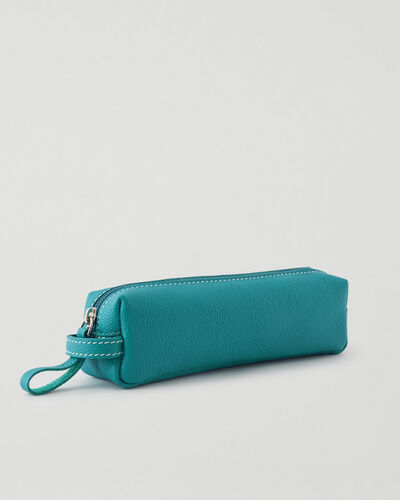 Roots-Leather Tech & Travel-Small Utility Pouch Cervino-Blue Lagoon-A
