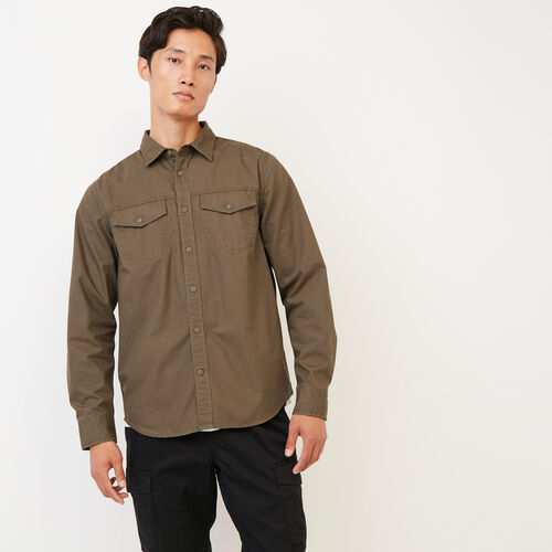 Roots-Men Shirts & Polos-Heatley Long Haul Shirt-Fatigue-A