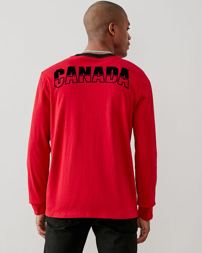 Roots-Men New Arrivals-Mens Canada Ringer Long Sleeve  T-shirt-Sage Red-A