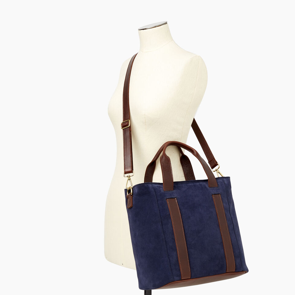 Roots-Leather Our Favourite New Arrivals-Victoria Tote Suede-Navy-B