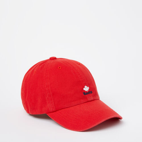 Roots-Clearance Men-Cooper Roots Leaf Baseball Cap-Racing Red-A