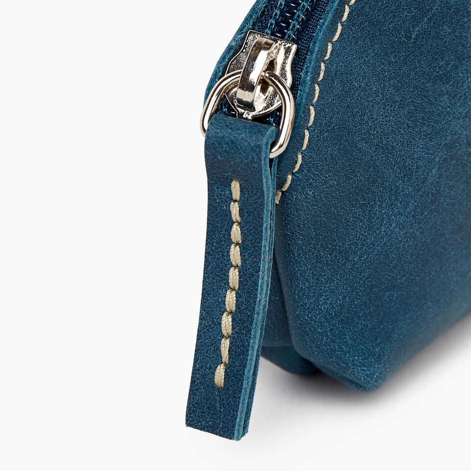 Roots-Leather Categories-Small Euro Pouch-Teal Green-C
