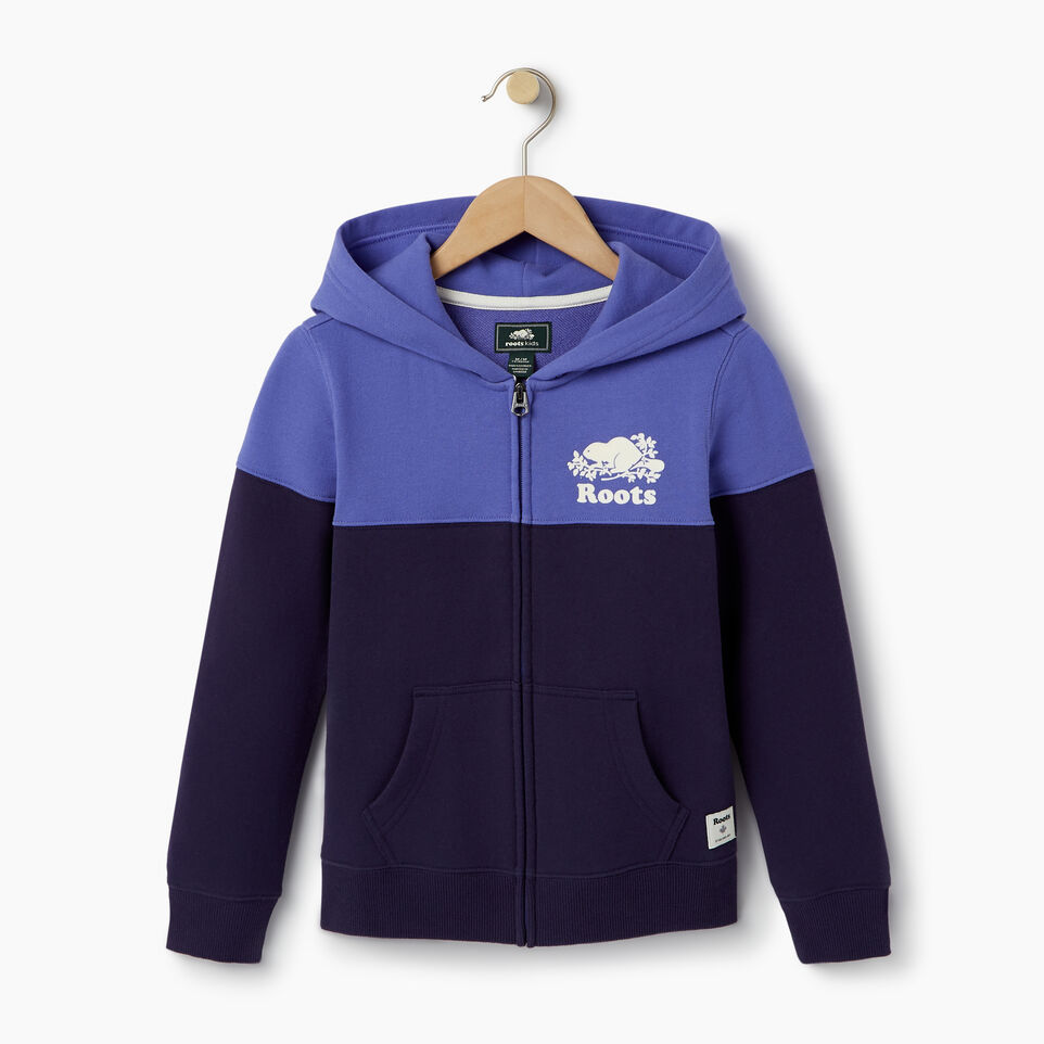 Roots-Clearance Kids-Girls Colour Block Full Zip Hoody-Violet Storm-A