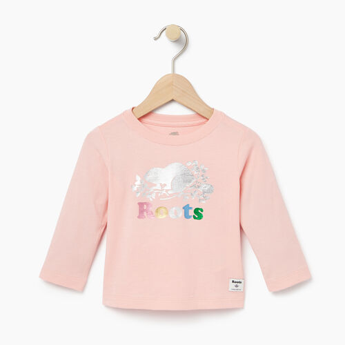 Roots-Kids Baby-Baby Foil Cooper Beaver T-shirt-Light Pink-A