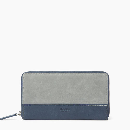 Roots-Clearance Leather-Zip Around Wallet-Quartz/navy-A