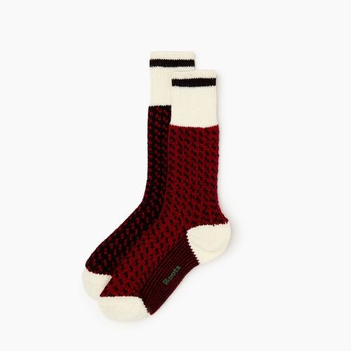 Roots-Women Socks-Roots Cabin 3 Point Sock 2 Pack-Cabin Red-A