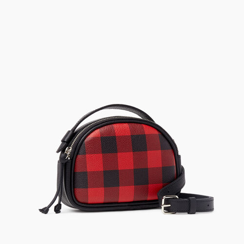 Roots-Leather Handbags-Park Plaid Luna Belt Bag-Cabin Red-A