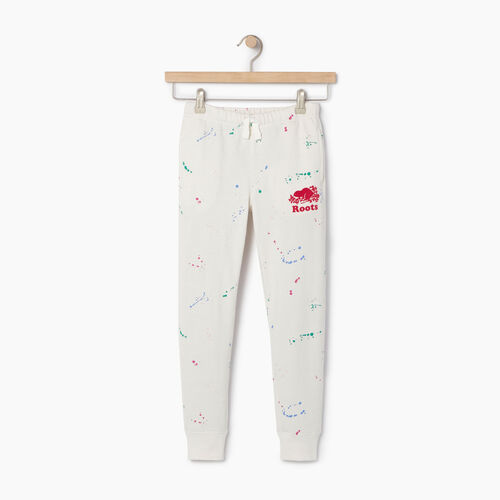 Roots-Clearance Kids-Girls Splatter Sweatpant-Cannoli Cream-A