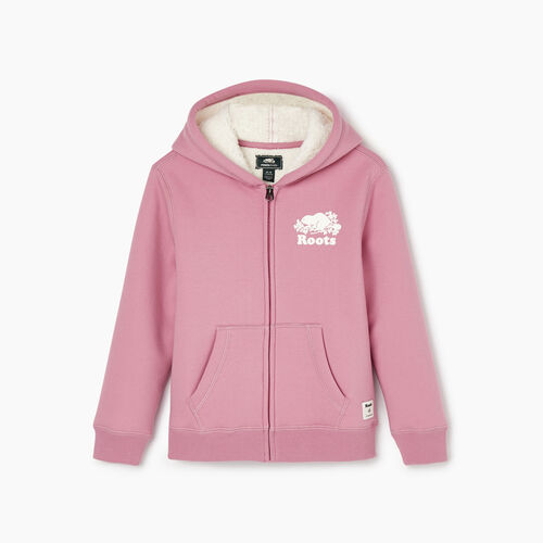 Roots-New For November Kids-Girls Sherpa Lined Full Zip Hoody-Mauve Orchid-A