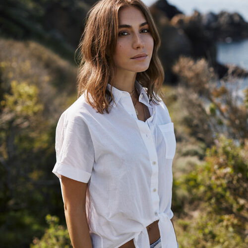 Roots-Women Shirts-Bow River Top-White-A