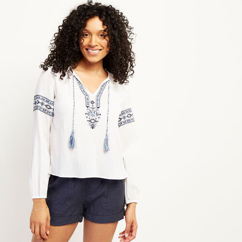 Roots-Women Clothing-Rimby Embroidered Peasant Top-White-A