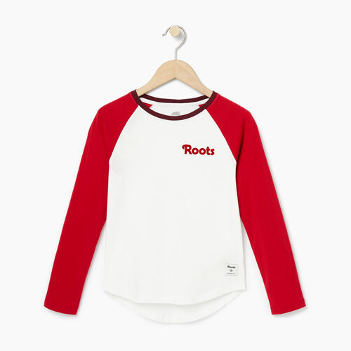 Roots-Winter Sale Kids-Girls Roots Raglan Top-Cabin Red-A