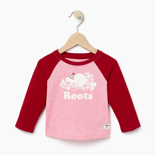 Roots-Clearance Kids-Baby Buddy Raglan T-shirt-Cabin Red-A