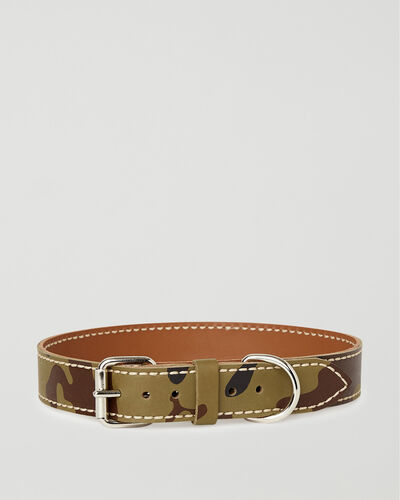 Roots-New For This Month Dog Accessories-Extra Large Leather Dog Collar-Green Camo-A
