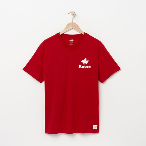 Roots-Sale Tops-Mens Maple V-neck T-shirt-Sage Red-A