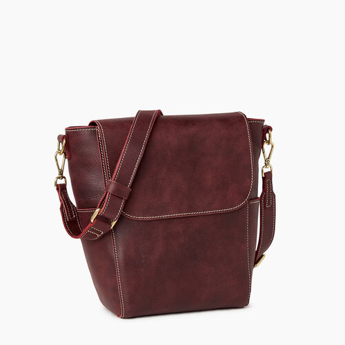 Roots-Leather Handbags-Small Journey Bag-Crimson-A