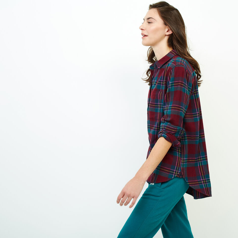 Roots-Women Clothing-Relaxed Flannel Shirt-Crimson Mix-C