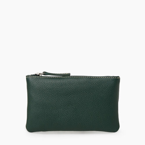 Roots-Leather Leather Accessories-Medium Zip Pouch Cervino-Forest Green-A