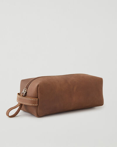 Roots-Leather Tech & Travel-Medium Utility Pouch Tribe-Natural-A