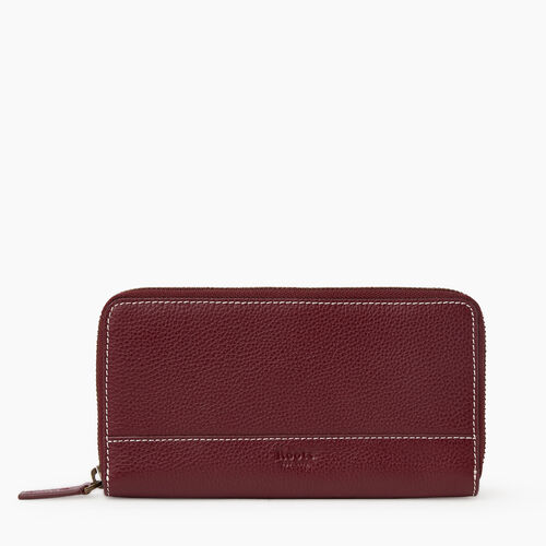 Roots-Leather New Arrivals-Zip Around Clutch Cervino-Bordeaux-A