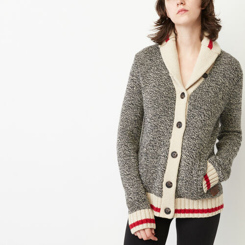 Roots-Winter Sale Women-Roots Cabin Shawl Cardigan-Grey Oat Mix-A