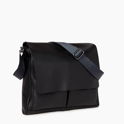 Roots-Leather Briefcases & Messengers-Bay Messenger Cervino-Black-A