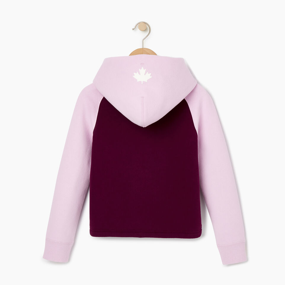 Roots-Sale Kids-Girls 2.0 Colour block Raglan Hoody-Pickled Beet-C