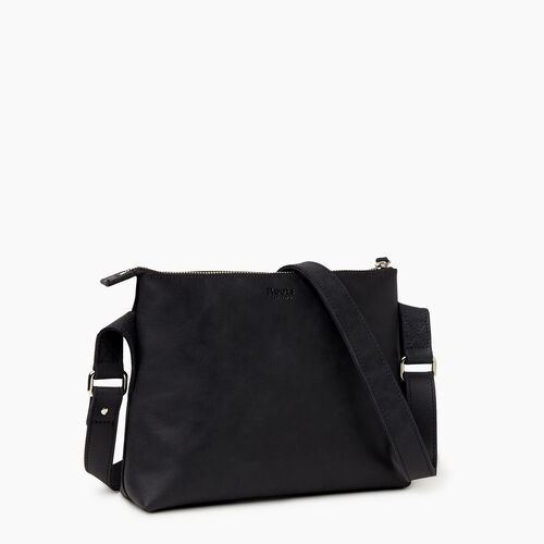 Roots-Leather Crossbody-Journey Crossbody Tribe-Jet Black-A