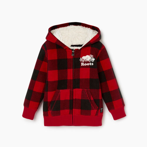 Roots-Kids Tops-Toddler Park Plaid Sherpa Lined Hoody-Cabin Red-A