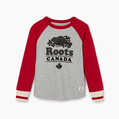 Roots-Kids Tops-Toddler Cabin Baseball T-shirt-Cabin Red-A