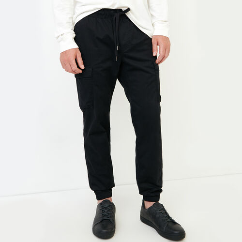 Roots-Clearance Men-Easy Cargo Jogger-Black-A