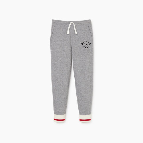 Roots-Kids Bottoms-Boys Cabin Park Slim Sweatpant-Light Salt & Pepper-A
