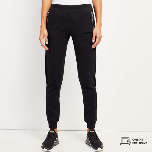Roots-Women Slim Sweatpants-Velour Logo Slim Cuff Sweatpant-Black-A
