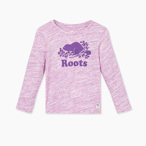 Roots-Kids Tops-Toddler Original Cooper Beaver T-shirt-Purple Mix-A