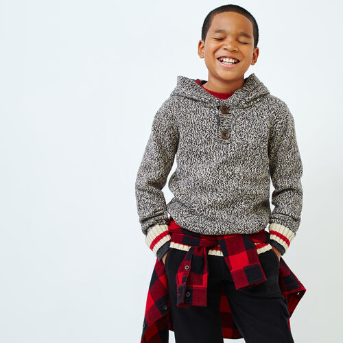 Roots-Kids Boys-Boys Roots Cabin Sweater Hoody-Grey Oat Mix-A