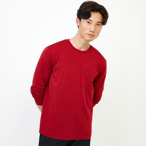 Roots-Men Long Sleeve Tops-Essential Pocket Longsleeve T-shirt-Sundried Tomato-A