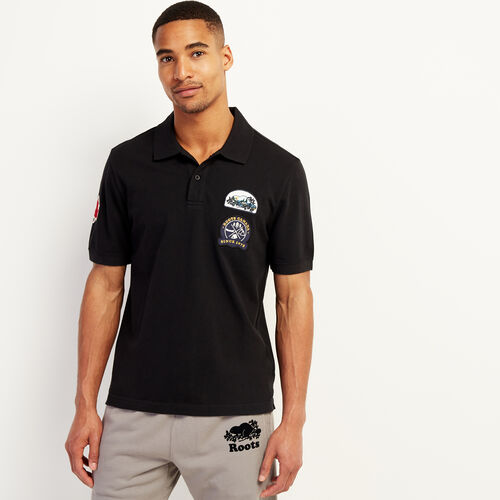 Roots-Sale Tops-Camp Patch Pique Polo-Black-A