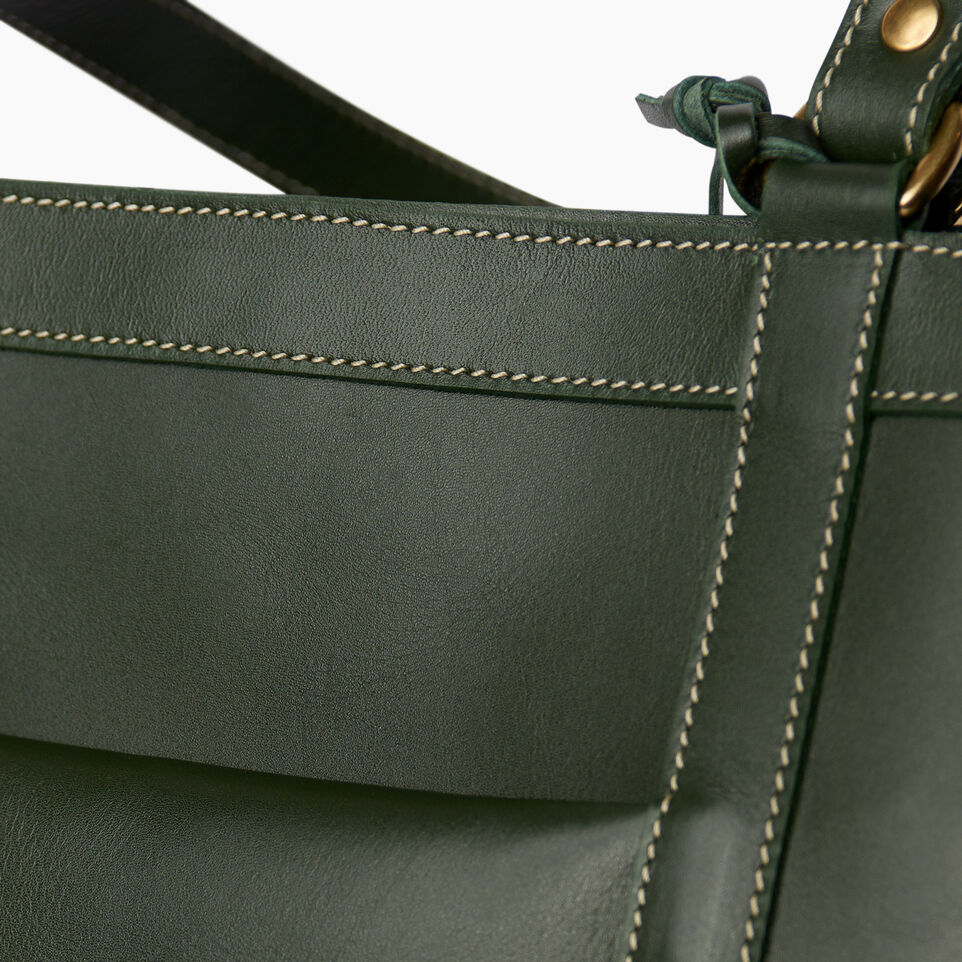 Roots-Winter Sale Leather-Market Tote Heritage-Hunter Green-E