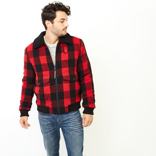 Roots-Men Categories-Park Plaid Wool Aviator-Cabin Red-A