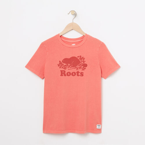Roots-Women Graphic T-shirts-Womens Cooper Pigment T-shirt-Spiced Coral-A