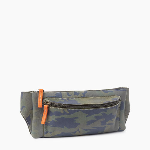 Roots-Women Leather-Camo Fanny Pack-Green Camo-A