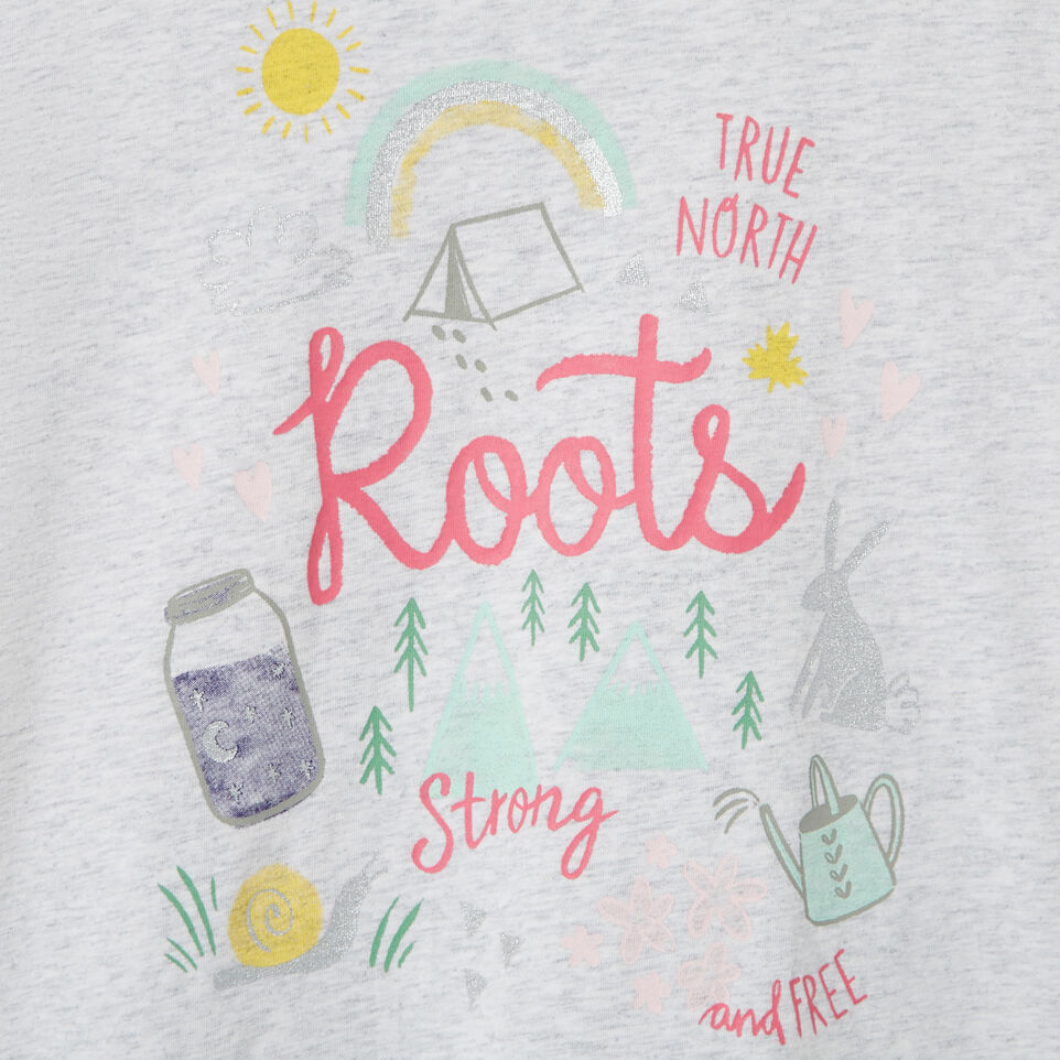 Roots-Kids T-shirts-Girls Glow-in-the-dark T-shirt-White Mix-D