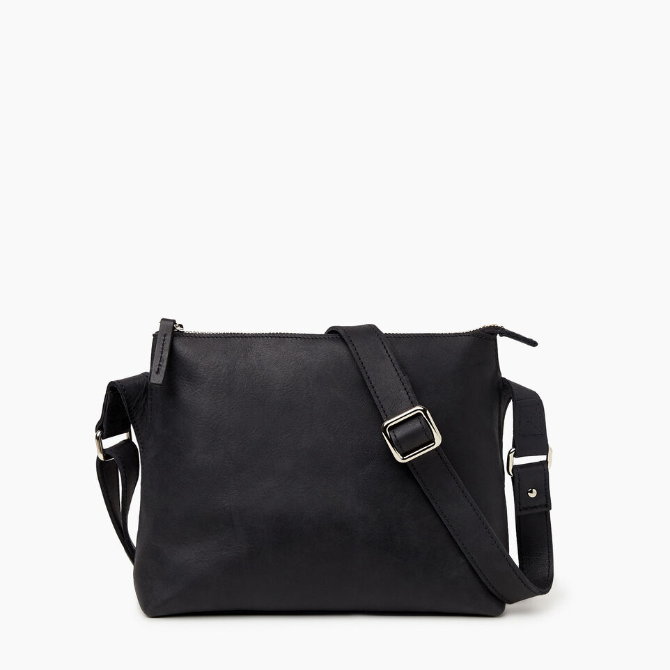 Roots-Leather New Arrivals-Journey Crossbody Tribe-Jet Black-C