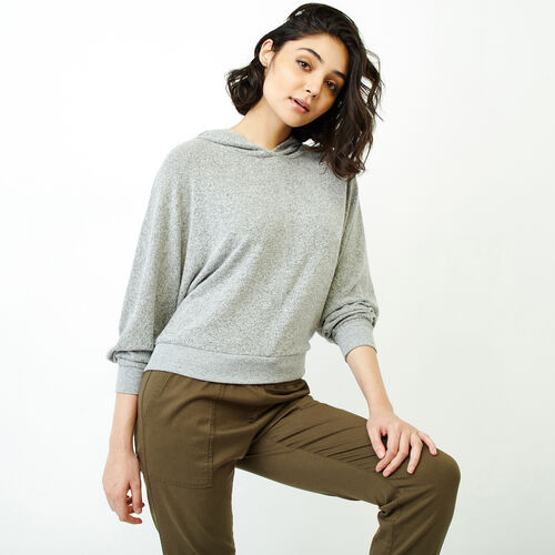 Roots-Women Tops-Cozy Cool Dolman Hoody-Grey Mix-A