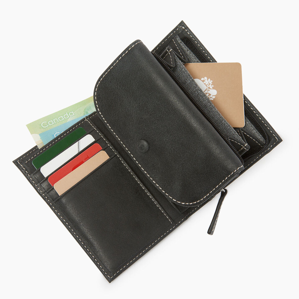 Roots-Leather  Handcrafted By Us Our Favourite New Arrivals-Riverdale Wallet-Jet Black-C