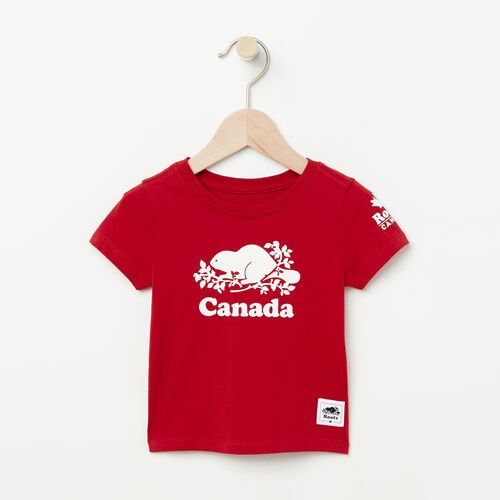 Roots-Kids T-shirts-Baby Canada T-shirt-Sage Red-A