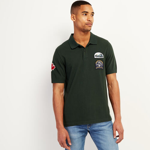 Roots-Sale Tops-Camp Patch Pique Polo-Park Green-A