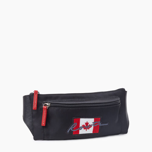 Roots-Leather Mini Leather Handbags-Script Canada Fanny Pack Nylon-Black-A