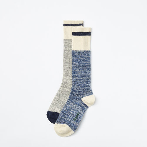 Roots-Women Socks-Womens Cotton Cabin Sock 2 Pack-Navy Mix-A
