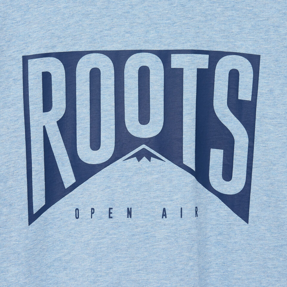 Roots-New For August Men-Mens Roots Peak T-shirt-Baby Blue Pepper-D